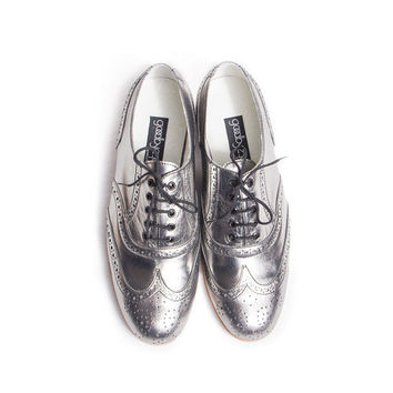 silver oxford brogue shoes - FREE WORLDWIDE SHIPPING