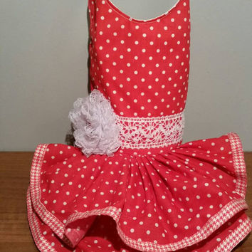 Dog clothes- red dots dog dress - handmade - dresses for dogs- xsmall dog dress - summer dog clothes - chihuahua clothes
