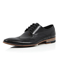 River Island MensBlack leather textured formal brogues