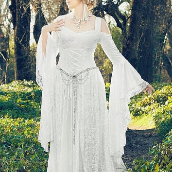 Lady Gwen Lace Up Fantasy Medieval Velvet and Lace Gown Custom