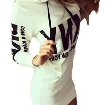 Women Letter Print White Drawstring Hoodie Dress