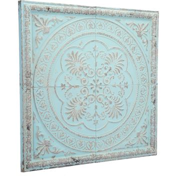 Distressed Blue Ancient Plaque Wall Art
