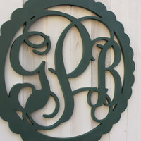 Wood Wall Monogram w/ Scallop Border - 18, 20 , 22 or 24 inches - Unpainted Wood Letters - Wall hanging - Home/Wedding Decor