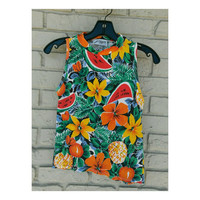 Vintage Tropical Fruit Floral 90s tank top- j.a. higgins mock neck- watermelon pineapple orange