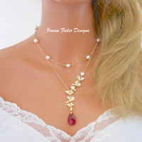 Red Necklace Gold ORCHID Jewelry PEARL Double Strand Ruby BRIDAL - Vivian Feiler Designs | Wedding