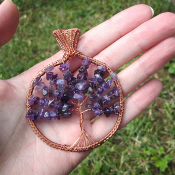 amethyst tree of life pendant,amethyst tree of life necklace,wire wrapped jewelry,talisman,february birthstone,spiritual jewelry,yoga,copper