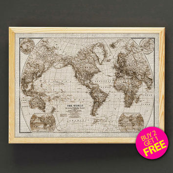 Antique Rustic World Map Print Vintage World Map Reproduction Poster Housewear Wall Art Decor Gift Linen Print - Buy 2 Get FREE - 407s2g