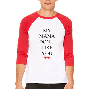 "Justin Bieber ""My Mama Don't Like You / Bieber / Purpose Tour"" PacSun Red & White Baseball Tee"