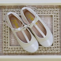 Amiana Girls Ivory Shoes with Glitter