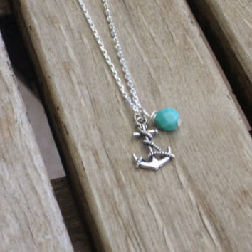 Silver anchor and mint green 18 inch chic simple everyday necklace, bridesmaid gift