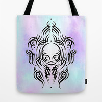 Alien Tribal Tattoo Tote Bag by Chobopop