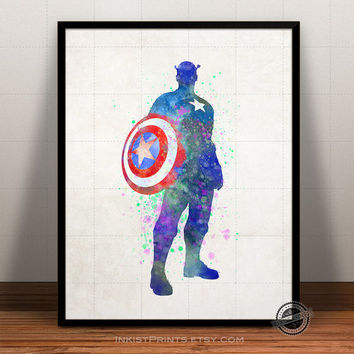 Captain America Watercolor, Superhero poster, Marvel Print, Art, Heroes Illustrations, Watercolour, Giclee Wall, Artwork, Comic, Home Decor