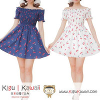 New Sweet Cherry Printed Dress Soft Stylish Japanese School Uniform Party 2 Colors KK638