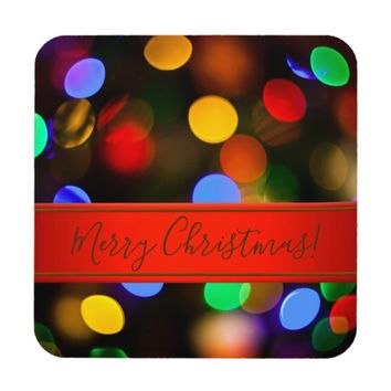 Multicolored Christmas lights. Add text or name. Beverage Coaster