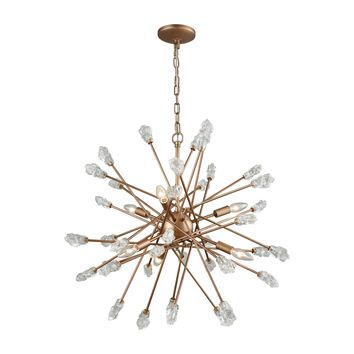11113/6 Serendipity 6 Light Chandelier In Matte Gold With Clear Bubble Glass - Free Shipping!