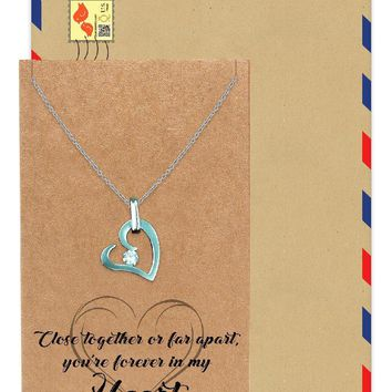 Fiona Love Heart Pendant Necklace, You're Forever in My Heart Greeting Card