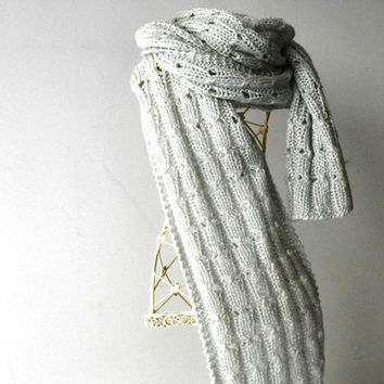 knit scarf, handknitted extralong scarf, knitted scarf in silver yarn, silver scarf, elegant scarf, knit shawl in wool and plumet