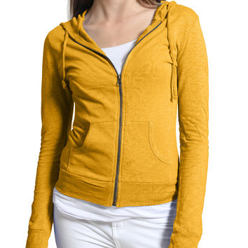 LE3NO Womens Lightweight Zip up Hoodie Jacket with Adjustable Sleeves (CLEARANCE)