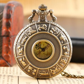 Vintage Retro Pocket Watch Bronze Man Hollow Fashion Constellations Quartz Retro Copper Casual Map Face Necklace Chain Gifts