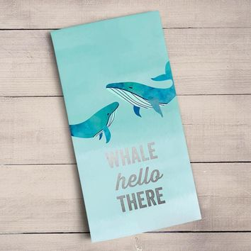 Whale Hello There - Silver Metallic Tea Towels