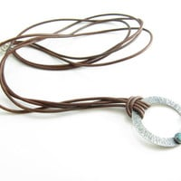 Sterling Silver Turquoise Pendant Leather Necklace Long Leather and Stone Necklace Round Pendant Turquoise Necklace Leather and Turquoise
