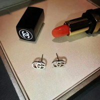 Gucci logo stud New arrival Electroplating of 18 K gold with retro earrings stud gold