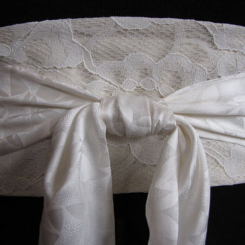 Cream 1940s Lace Bridal Wedding Belt Bridal Sash Obi Vintage Kimono Silk - Patsy