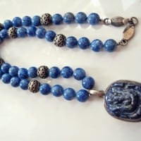Vintage Heavy Indian Lapis Lazuli and Sterling Silver Bead Necklace with a Carved Hindu Lord Ganesha Pendant