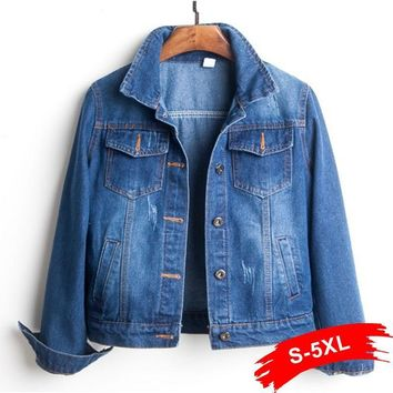 Trendy Plus Size Ripped Hole Cropped Jean Jacket 4Xl 5Xl Light Blue Bomber Short Denim Jackets Jaqueta Long Sleeve Casual Jeans Coat AT_94_13