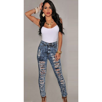 High waisted Vintage 90's Ocean Blue Washed Ripped Shredded Jeans