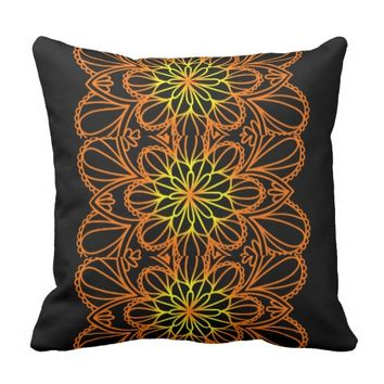 Yellow Leaves floral mandala Throw pillow