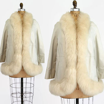 60s Mod LEATHER & SHEARLING COAT / 1960s Off-White Real Fur Trim Swingy Jacket