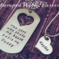 Daddy Daughter Matching Necklace Set- The girl who stole my heart calls me daddy