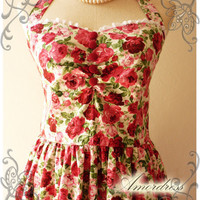 Floral Dress Rose Dress Summer Party Once Upon A Time Vintage Inspired Halter Neck Cerise Pink Red Rose w/ Little White Lace Dress -Size S-