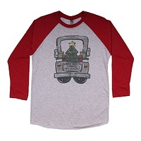 Santa Truck Raglan Tee Shirt in Red by Southern Roots