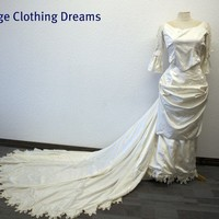 Edwardian and Victorian Style Wedding Dress - New and Unused Ivory Silk Gown- 6 Pieces - OOAK BR-84