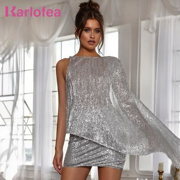 cb4150cfd523 Karlofea Sexy Silver Glitter Sequin 2 Piece Dress Suits Matches Shine  Backless Evening Club Party Short