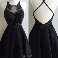 Lace Scoop Cross Strap Back Homecoming Dress