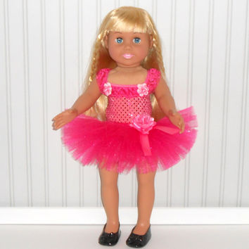 18 inch Doll Clothes Hot Pink Dance Outfit with Sequin Leotard and Tutu American Doll Clothes
