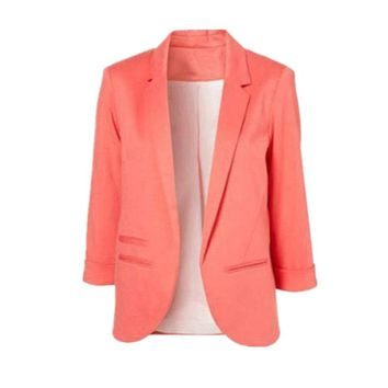 Women Formal Slim Suit Coat 3/4 Sleeve Outwear Office Lady Candy Colors Casual Plus Size Business Blazer Mujer Tops MZ1436
