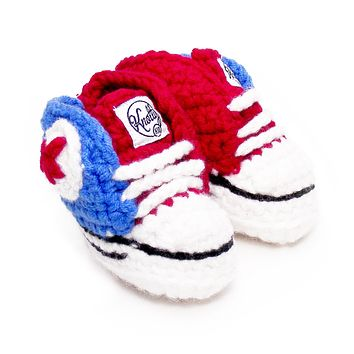 Crocheted Baby Booty Slippers Chuck Taylors Sneakers Red Blue