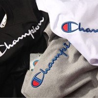 """Champion"" Fashion Embroidery Short Sleeve T-Shirt"