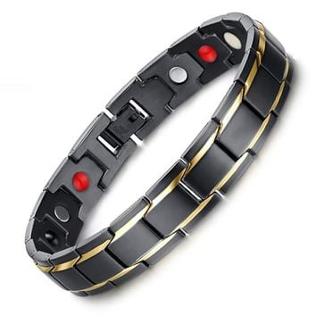 Black Men's Health Bracelets & Bangles Magnetic 316L Stainless Steel Charm Bracelet Jewelry for Man