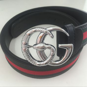 "New Gucci Big G Silver Metal Buckle Belt Men Leather Belt 48-50"" With Box"