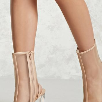 Mesh Lucite Ankle Boots