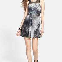 Frenchi® Mesh Inset Velour Racerback Skater Dress (Juniors) | Nordstrom