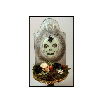 Halloween Folk Art, Creep Stone, Halloween Art Event Collectable, HAB, Primitive Halloween Assemblage, One of a Kind