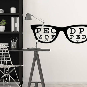 Eye Chart Decal, Glasses Decal, Eye Doctor Gift, Optometry Decor, Office Wall Decor, Optometry Art, Hipster Wall Art, Eyewear Specs Frames