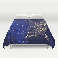 America Lit Up Duvet Cover by 2sweet4words Designs