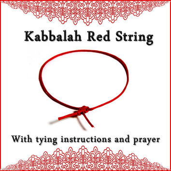 Kabbalah red string bracelet  with tying instructions and Ben Porat Prayer for protection from the evil eye